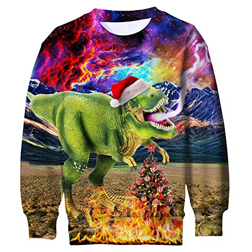 Price comparison product image Funnycokid Kids Boys Girls Christmas Fleece Jumper Long Sleeve 3D Dinosaur Print Graphic Party Wear Pullover Ugly Sweatshirt Xmas Tops