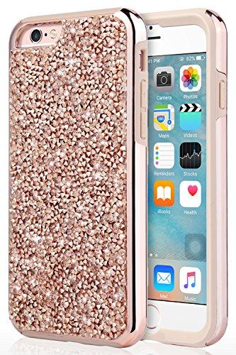 UrbanDrama iPhone 6S Plus Case, iPhone 6 Plus Case, Luxury Glitter Sparkly Rhinestone Hard PC & Soft TPU Bumper Anti Slip Shockproof Protective Case for iPhone 6S Plus/iPhone 6 Plus 5.5, Rose Gold