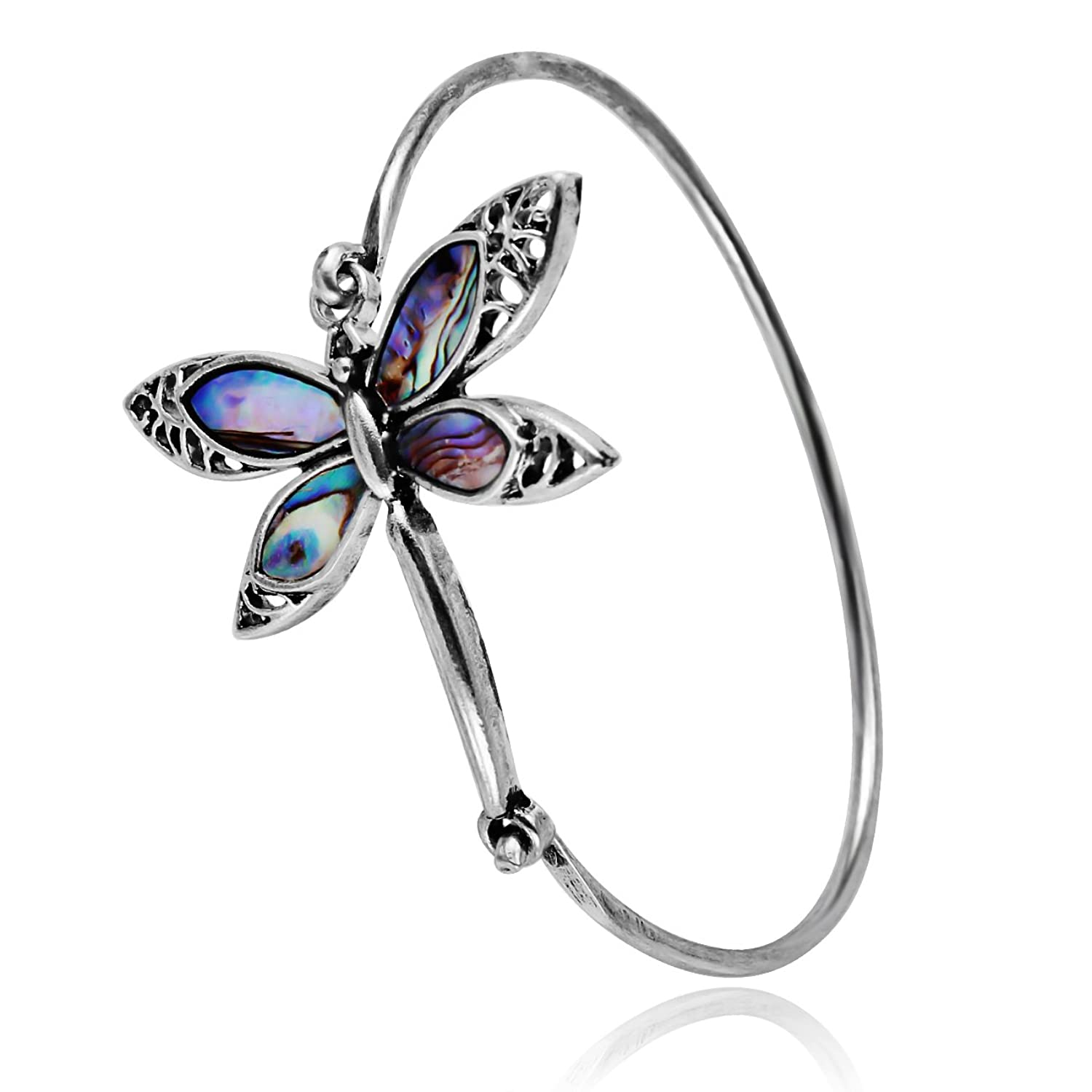 PANGRUI Exquisite Antique Silver Nature Abalone Paua Shell Dragonfly Bangle Bracelet Easy Open