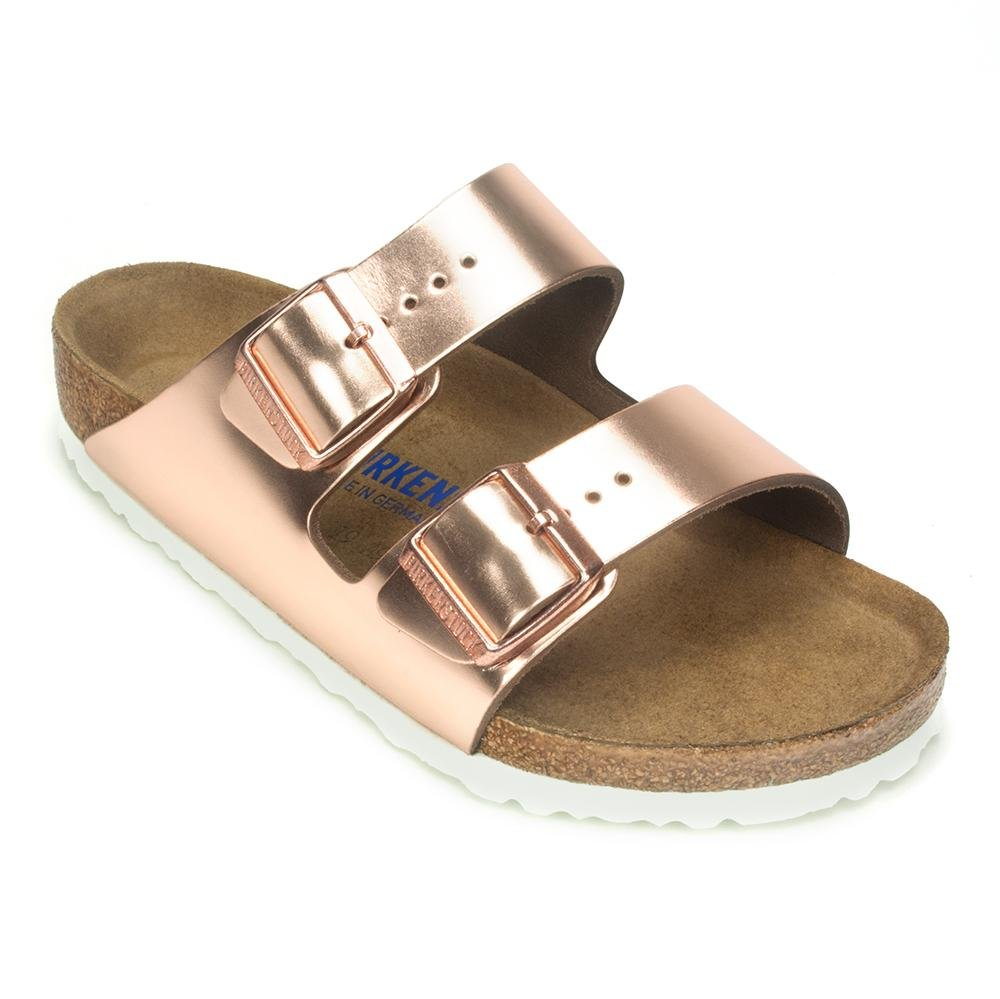 Birkenstock Arizona White Copper Soft Footbed Leather Sandal 38 R (US Women's 7-7.5)