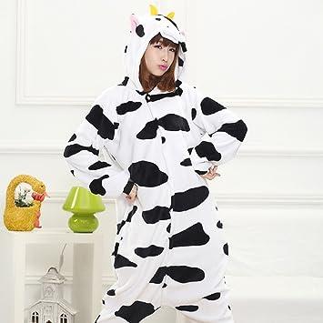 Otoño E Invierno Franela Hogar Hombres Y Mujeres Lindo Vaca de Dibujos Animados Animal Pieza Pijamas