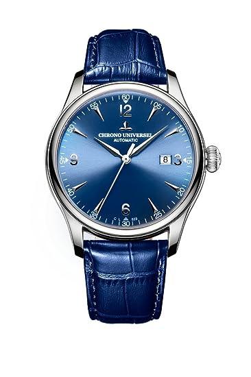 Reloj automático Chrono Universel con esfera azul, pulsera de cuero, cristal de zafiro