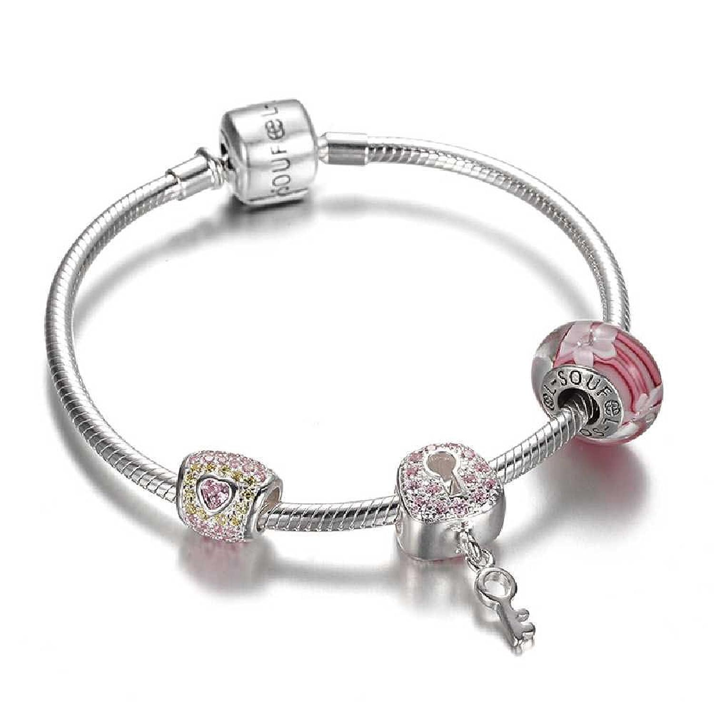Amazon SOUFEEL Lock Your Heart Charm Bracelet 6 3 Inch 925