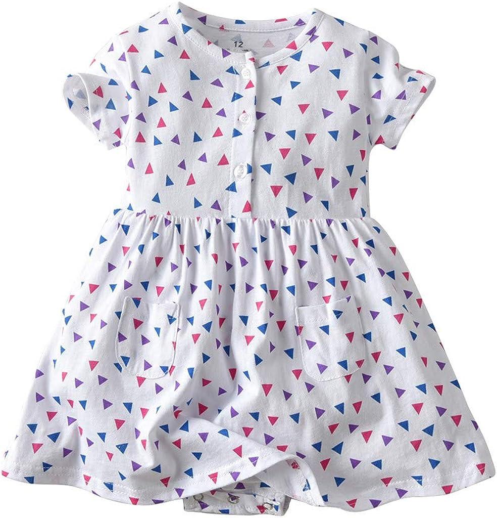 0-24M Toddler Infant Baby Girls Button Down Dresses Cute Floral Print Short Sleeve Pocket Dresses Retro Comfy Pajamas