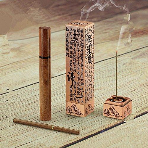 [copper Color Hollow Heart Sutra Incense burner Box Holder Joss stick Line Vertical censer Tea ceremony Home Decor Red] (Joss Incense Sticks)