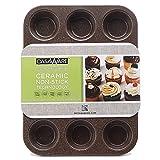 : casaWare Ceramic Coated NonStick 12 Cup Muffin Pan (Brown Granite)
