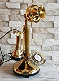 Candlestick Telephone Decorative Shinny Brass Antique Reproduction Rotary Dial.