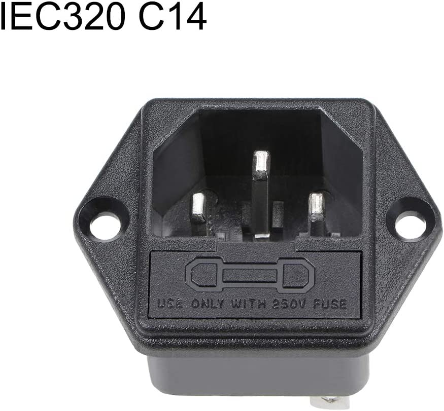 Power Module Adapter Male Socket AC 250V 10A uxcell IEC 320 C14 Inlet Socket with Fuse Holder