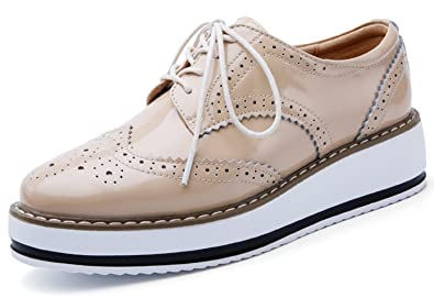 10b817536f9f YZHYXS Platform Shoes for Women Brogue Genuine Cow Leather Wedge Oxford  Casual Shoes (366beige36)