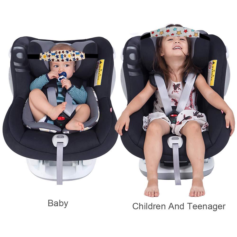 Linstyle Kinder Kopfstütze 2 Pcs Einstellbare Kindersitz Befestigung Kopfband Autositz Schlafhaar Hilfe Kopfstütze Schlaf Kopfstützhalter Gürtel Für Die Meisten Babysitze Autositze Kinderwagen Baby