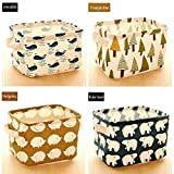 Adecco LLC Toy Storage Box Cube Origanizer for Kids Foldable Cloth Storage Bins Basket for Baby Toys,Makeup,Books,4 Pack