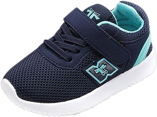 OHQ Zapatillas Deportivas Casual para NiñOs Y NiñAs Moda Azul Negro Zapatos De Deporte Al Aire Libre para Correr Zapatillas De Gimnasia: Amazon.es: Zapatos y complementos
