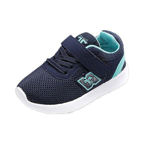 ab3e259a OHQ Zapatillas Deportivas Velcro Casual para NiñOs Y NiñAs Moda Azul Negro  Zapatos De Deporte Al Aire Libre para Correr Zapatillas De Gimnasia:  Amazon.es: ...