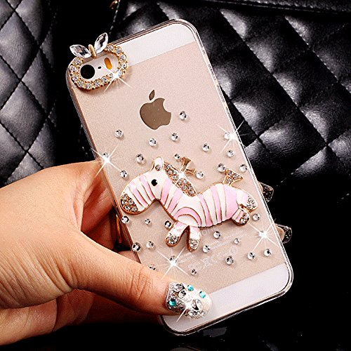 (iPod Touch 5/6 Case,HAOTP(TM) 3D Handmade Bling Crystal with Shiny Sparkle Rhinestone Diamonds Design Clear Soft TPU Cover Case for iPod Touch 5/6 (Pink Zebra))
