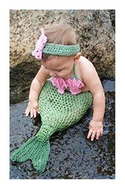 pinbo Bañador para bebé fotografía prop Cute Animal de sirena disfraz de crochet de punto Diadema Cola de sujetador: Amazon.es: Ropa y accesorios