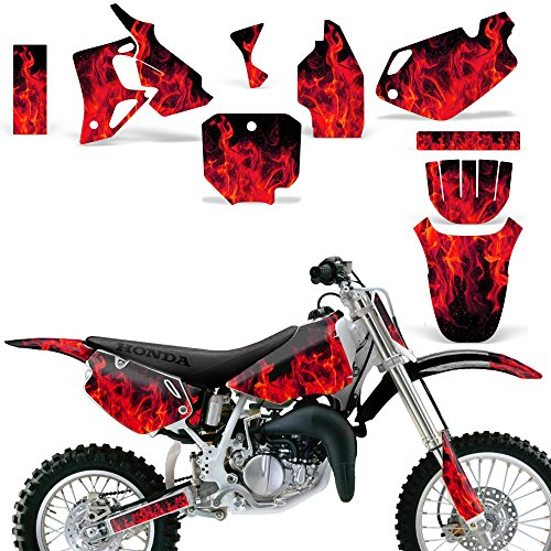Honda CR 80 1996-2002 Graphic Kit MX Stickers Dirt Pit Bike Decals CR80 FLAMES RED - Custom Pit Bike Graphics Kit