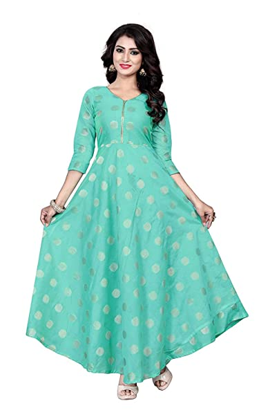 sat creation Women s Chanderi Cotton Anarkali Gown (Firoji 82f2cdd5d