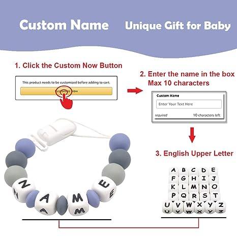 Amazon.com: Clip para chupete personalizable con nombre ...