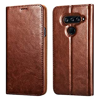 icarercase LG V40 ThinQ Case (2018), LG V40 Leather case Premium PU Leather Folio Flip Cover with Kickstand and Credit Slots for LG V40 Wallet Case 6.2 inch(Brown