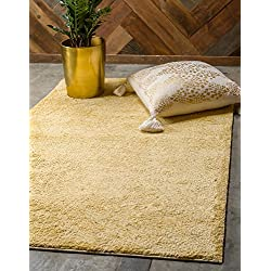 Unique Loom Solo Collection Plush Casual Yellow Area Rug (5' x 8')