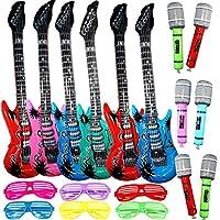 Joyin Toy - Juego de juguete inflable Rock Star - 6 guitarras eléctricas (38 pulgadas), 6 micrófonos y 6 lentes de persianas.
