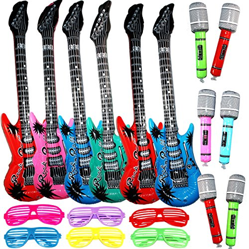Rock Star Party Pack - Joyin Toy Inflatable Rock Star Toy Set - 6 Electric Guitar (38 Inches), 6 Microphones and 6 Shutter Shading Glasses.