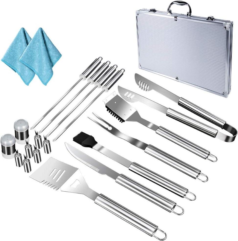 strumenti multifunzione per griglia con spatola Mastertop pinze e scatola portaoggetti per campeggio all/'aria aperta Set di 18 utensili per barbecue in acciaio inossidabile coltello forchetta