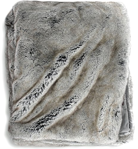 Luxury Faux Fur Oversized Throw Blanket with Plush Velvet Reverse, Fox Lynx or Gray Mink (Faux Mink Blankets)