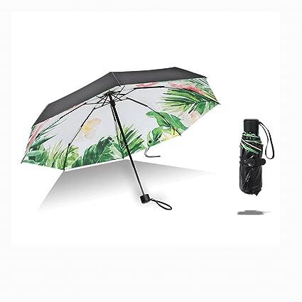 Paraguas Ultraligero pequeños protección Solar sombrillas sombrillas Mini Plegable Doble QIQIDEDIAN (Color : Flamingo,
