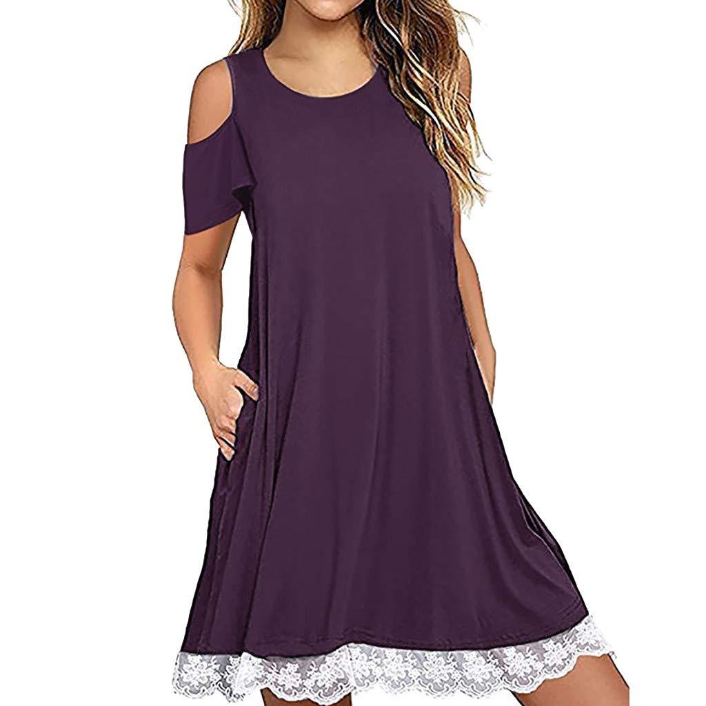 Hattfart Women's Summer Short Sleeve Cold Shouler Lace Hem T-Shirt Loose Dress with Pockets (M, Purple)