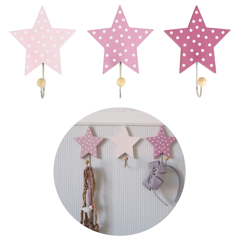 LS-LebenStil Kinder Kleiderhaken Set 3 Sterne Grau Wei/ß 11x11x15cm Wandhaken Garderobe