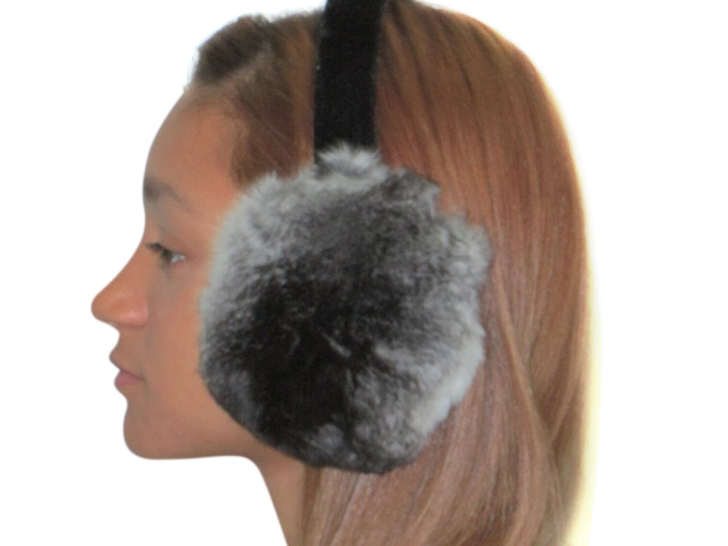 Natural Chinchilla Ear Muffs by FursNewYork