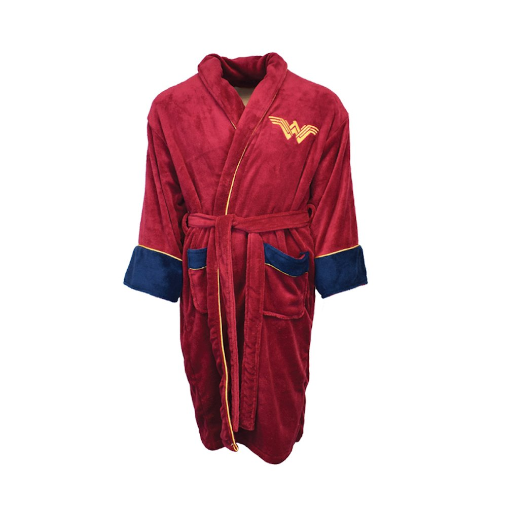 Official Batman v Superman Wonder Woman Fleece Dressing Gown Bathrobe - Adult DC Comics