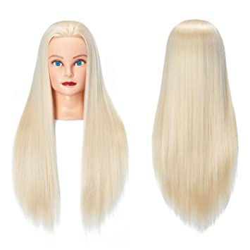 Amazon Com Training Head 26 28 Long Hair Mannequin Training Head Dolls For Cosmetology Synthetic Fiber Hair Styling Hairdressing Manikin Head For Hairdresser With Clamp Stand 1711w61320 Beauty