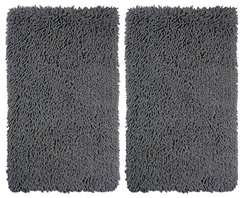 Hand Tufted Charcoal (Cotton Craft - 2 Piece Micro Fiber Chenille Bath Mat Rug Set - 21x32 - Charcoal Super Absorbent Super Soft Plush Hand Tufted Heavy Weight Construction - Easy Care Machine wash)