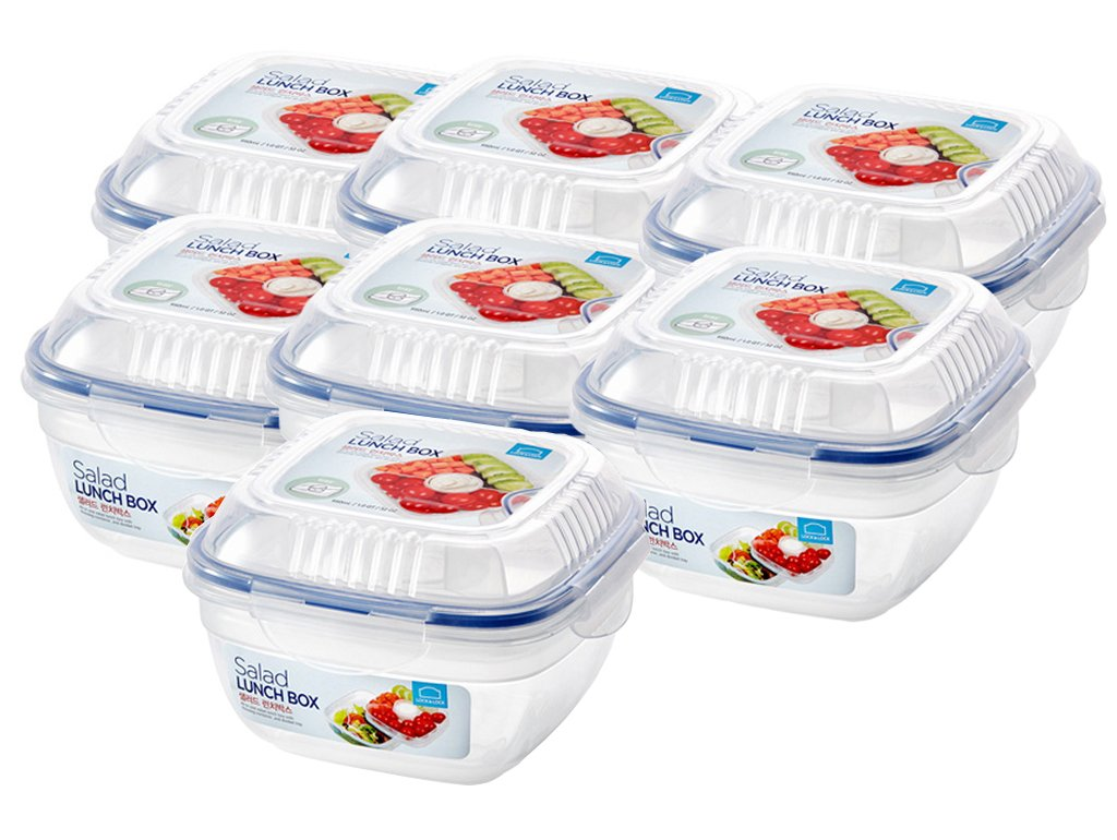 Lock & Lock Salad Lunch Box With Dressing Storage One Week 7 Days Set 32oz(950ml) 7pcs x 1 pack Bowl container to go