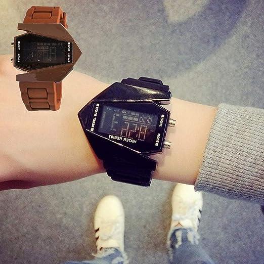 Rocita Correa de Silicona Multifuncional Moda Unisex Estilo Aviones Reloj Blando LED Luminoso Reloj de Pulsera con batería incorporada de café: Amazon.es: ...