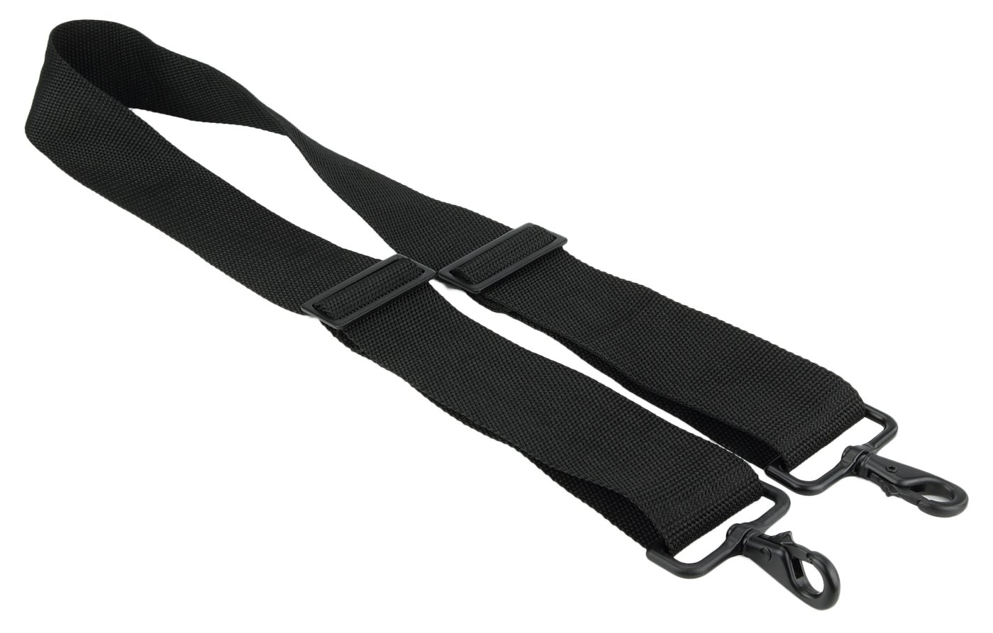 Made in USA 2''W x 60''L Black Poly Web Replacement Shoulder Luggage Travel Bag Strap Black Hardware with No Shoulder Pad