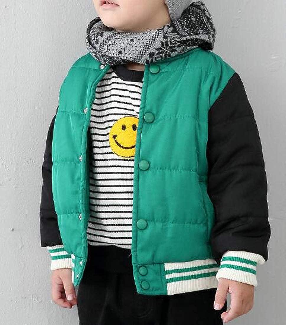 Hajotrawa Boys Warm Cotton-Padded Winter Baseball Collar Coat Jackets