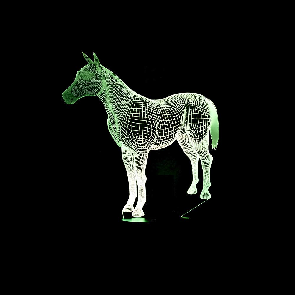 Lovely Horse Horse Horse 3D Lámpara de Noche Lámpara LED 7 Cambio de Color LED Animal 3D Night Light Home Room Decoration Mejor Regalo de Niño 934c15