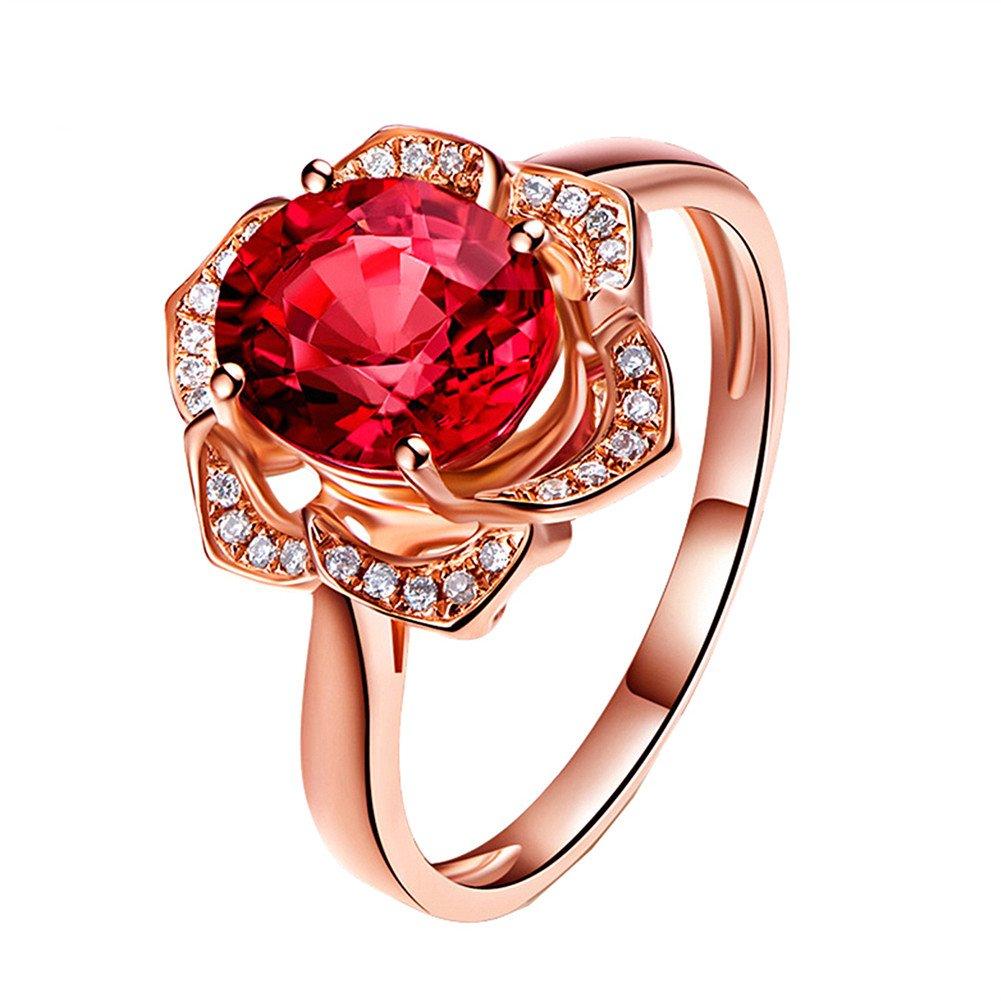 Topdo 1pc Womens Rings Rose Flower Shape Ring Gemstone Ring Natural Red Tourmaline Ring Diamond Ring Plated 18K Gold Flower Ring Size 7# (Rose Gold)