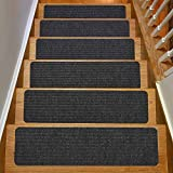 Stair Treads Collection Indoor Skid Slip Resistant Carpet Stair Tread Treads (Dark Grey, Set of 13 (8 in x 30 in))
