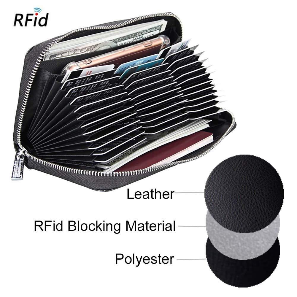 Mdeper Porte-Monnaie de Grande capacit/é avec Porte-Cartes Multifonctions en Cuir Anti-magn/étique RFID