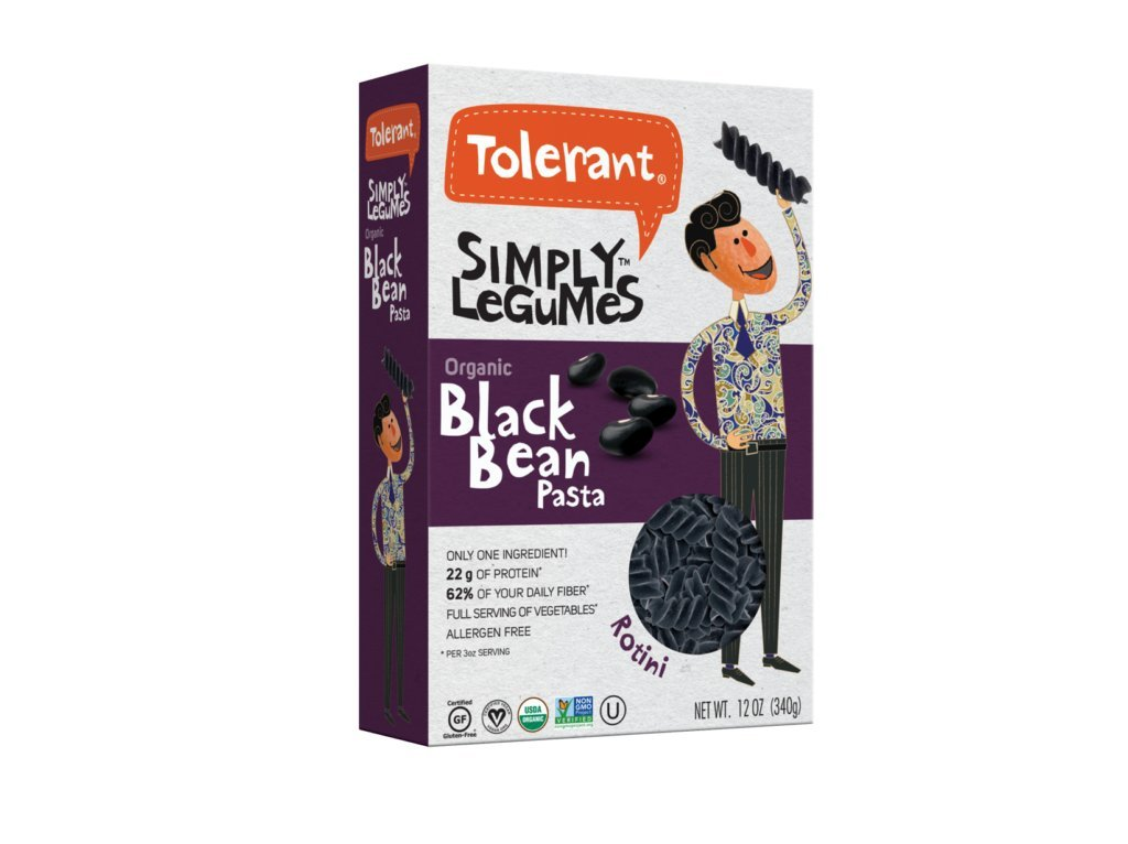 Tolerant Pasta, Organic Black Bean Rotini, 8 oz, Pack of 3