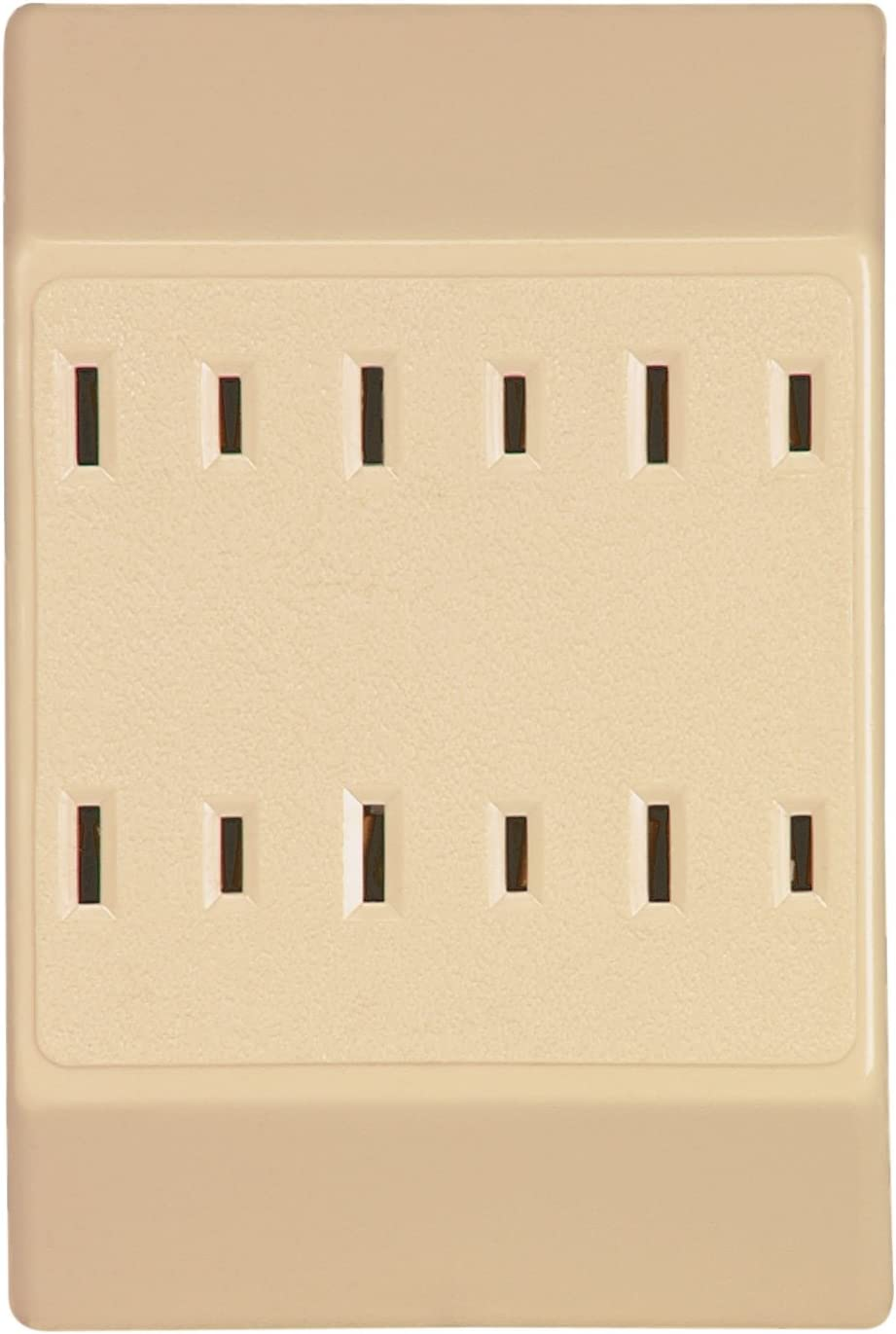 125-Volt Eaton 1746V-SP-L Duplex Receptacle with Six Outlet Tap with 15-Amp Ivory 1-15-NEMA Rating