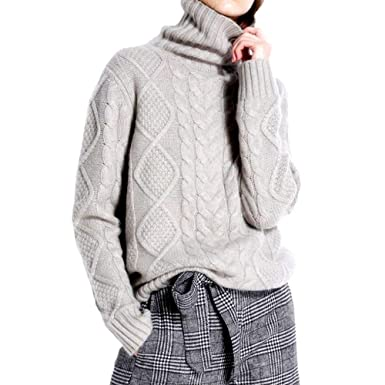 Ailaile Cashmere Wool Sweater Women s Twist Thick Turtleneck Pullover  Female Loose Knitted Jumper at Amazon Women s Clothing store  f86e022f2