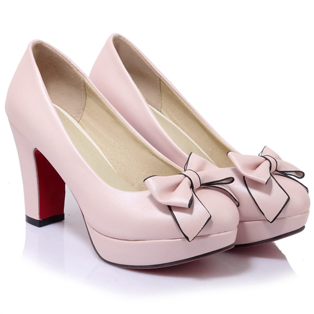 e1a98e94ea9 KingRover Women s Sweet Closed Toe Low Cut Work Shoes High Block Heel Slip  on Platform Pumps with Bows  Amazon.co.uk  Shoes   Bags