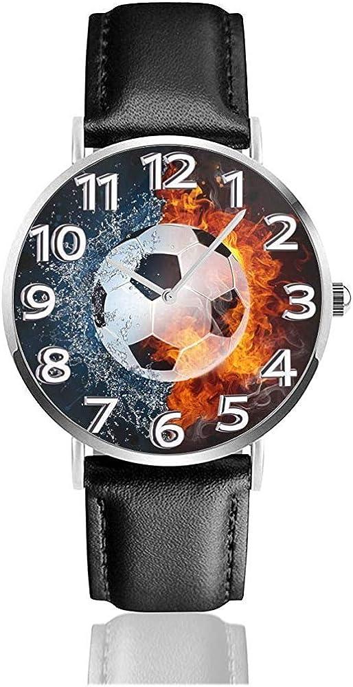 Balón de fútbol en Relojes de Fuego y Agua Reloj de Cuero de PU ...