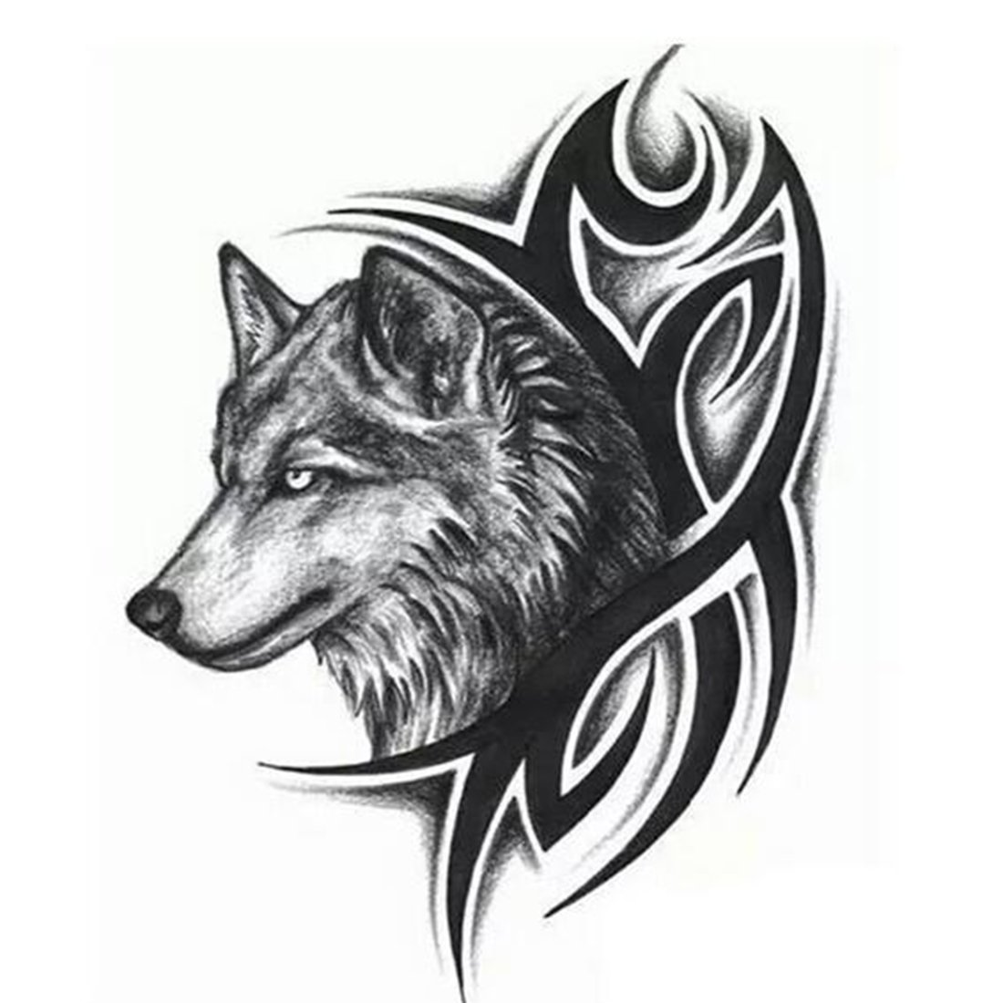 Body Art Beauty Makeup Cool wolf Waterproof Temporary Tattoo Stickers For Unisex 1912cm