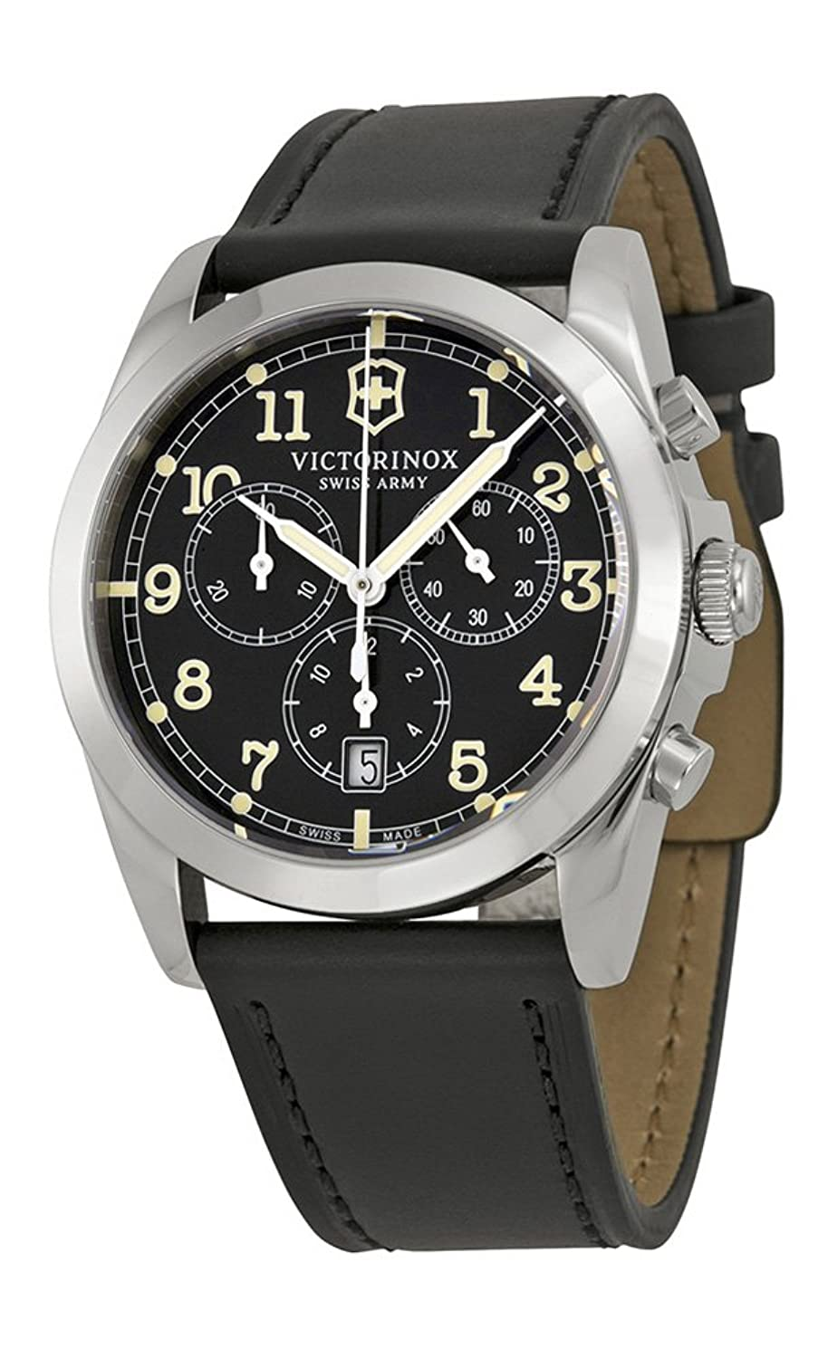 Swiss Army Infantry Vintage Chronograph Steel Mens Watch Black Dial Date 241588